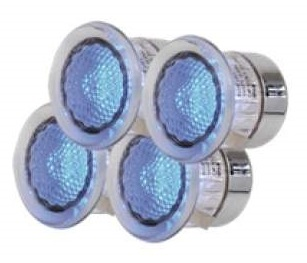 IP44 Set Of 4 LED Decking Light Kit With Blue LED's
